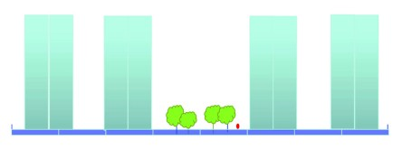 Ada bazında, yer yer yoğunlaştırılarak ortada açıklık bırakıldığı durumda 3 emsal görünümü. /©HAS Mimarlık